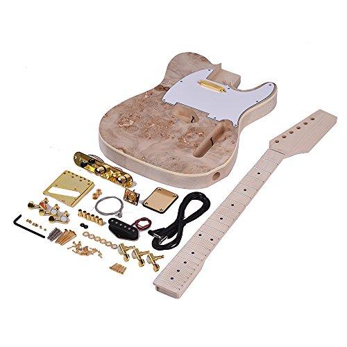 ammoon Unfinished E-Gitarren Elektrische Gitarre DIY Kit TL Tele Stil Unvollendete Linde Korpus Maser Oberfläche Ahornholz Hals & Griffbrett - Gitarre Elektrische Kits