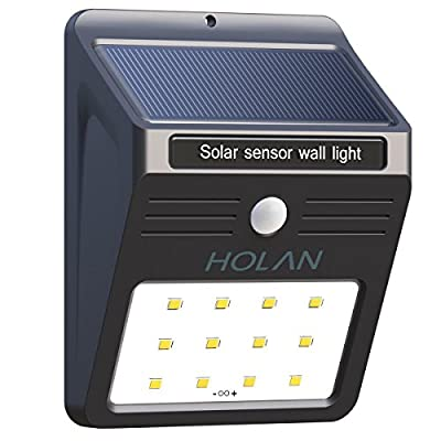 Solar Motion Sensor Light,Holan 12 LED Rainproof Powered Security Light Outdoor with 2 Intelligent Modes for Garden,Outdoor,Fence,Patio,Deck,Yard,Home,Driveway