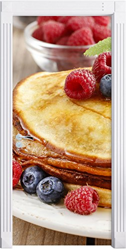 frittelle dolci con frutti di bosco come Murale, Formato: 200x90cm, telaio della porta, adesivi porte, decorazione porta, adesivi porta