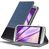 Cadorabo Custodia Libro per HTC One M8 in Azzurro Scuro Nero - con Vani di Carte, Funzione Stand e Chiusura Magnetica - Portafoglio Cover Case Wallet Book Etui Protezione