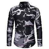 Geili Hemd Herren Camouflage Langarmshirt Slim Fit Freizeithemden Bügelfrei Langarmhemd Herrenhemden Freizeit Business Hochzeit Party Hemden für Männer