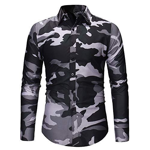 Geili Hemd Herren Camouflage Langarmshirt Slim Fit Freizeithemden Bügelfrei Langarmhemd...