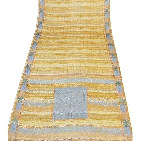 Indio Sari de la vendimia Crepe tela de seda cortina de tela reciclada impresa abstracto Sari coser vestido Beige wasserpfeifenversand navidello de decoración para el hogar