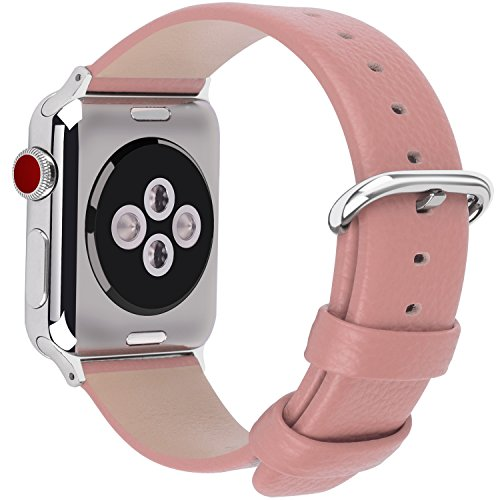 15 Colores para Correa Apple Watch 38mm, Fullmosa®Yan Apple Watch Band de Cuero Apple Watch Pulsera Correa para Watch Reemplazo de Reloj Ediciones Versiones 2015 2016 2017 para iWatch Serie 0 1 2 3, Rosa Oscuro