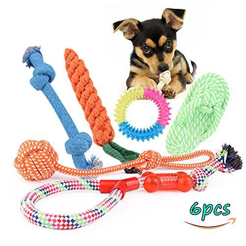 Haustier-Hundespielzeug , Hund Seil Spielzeug, geflochten Baumwolle Knochen Seil / Verknotete / Gebunden / Durable / Chew Spielzeug für Welpen-Hunde Interaktives Gelegentliche Farber (6)