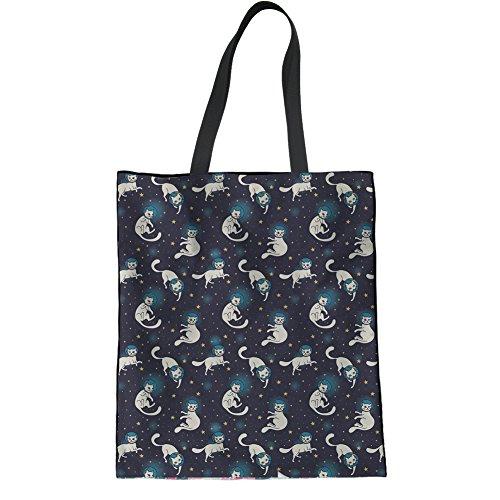 HUGS IDEA Space Kitty Cotton Shoulder Bag Teen Girl Travel Shopping Tote Bag School Bookbags -