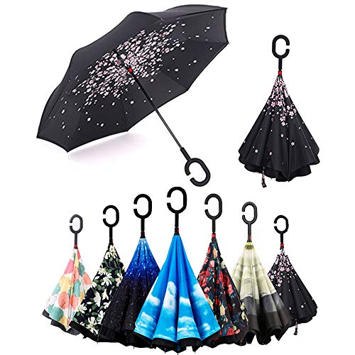 Paraguas Invertido,Plegable,Reversible, Mango Forma