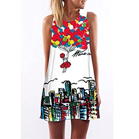 Sunnywill Vintage Boho Frauen Ärmelloses Sommerstrand gedruckt kurzes Mini-Kleid für Mädchen Damen