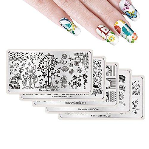NICOLE DIARY 5 Stück Tier Floral Nail Art Stamping Platte Kit Natur World Series Rechteck Nail Art Druckvorlagen Nail Art Bild Platte Maniküre Werkzeuge