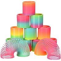 Bememo 12 Stück Regenbogenspirale Frühling Regenbogen Magie Frühling Bunte Magie Frühling Mini Gefärbt für Party Tasche Füllstoffe Spielzeug, Kunststoff