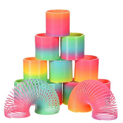 Bememo 12 Piezas de Juguete de Muelle de Arco Iris Mini Resortes Coloridos Mágicos para Bolsa de Fiesta Rellenos Juguete, Plástico