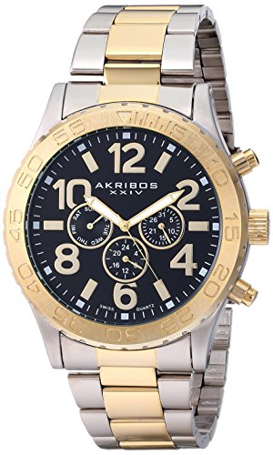 akribos-xxiv-mens-quartz-watch-with-black-dial-analogue-display-and-two-tone-stainless-steel-bracele