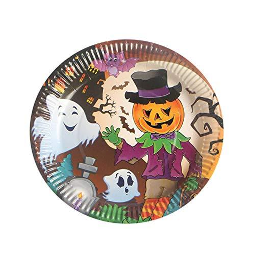 (Lidahaotin 10PCS Multi Muster Bunte Halloween-Thema Runde Einweg 17,5cm Durchmesser Pappteller #3 17.5cm)