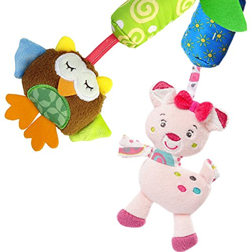 Vindar 4 Packs Baby Pram Pushchair Stroller Toys, Infant Bed Cot Crib Attachments, Cartoon Animal Hanging Rattle Toddler Toys, Soft Flock Fabric, with Ringing Bell Build-in BB device