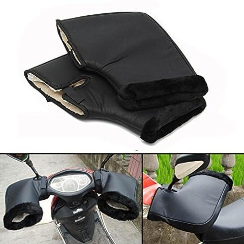 Hunpta étanche Moto Poignée barre d'hiver chaud Manchons de protection thermique Noir, noir