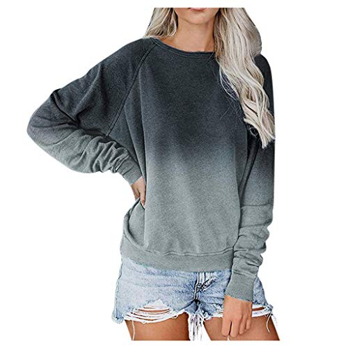 Ziyou Women Casual Hoodies Tops Color Block Long Sleeve O-Neck Lightweight Sweatshirt Blouses Pullover (XL, Grau)