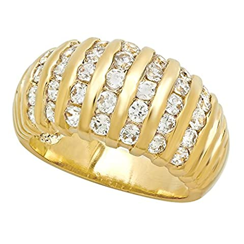 10mm Polished Gold Plated Vertical Rows of Channel Set CZs Ring, Size 56.5 + Microfiber Jewelry Polishing Cloth