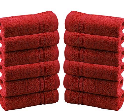 Waschlappen / Handtücher, Baumwolle, 550gsm, 12 Stück, baumwolle, rot, 12 Pieces Set (Ägyptische Bad Blatt)
