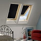 KINLO 38 x 75cm Sonnenschutz Dachfensterrollo Beschichtung für Velux Dachfenster UV Schutz Thermo Rollo mit Sucker Struktur