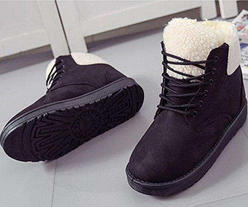 Minetom Femmes Mode Martin Bottes Hiver Chaud Chaussures En Coton Bout Rond Bottes De Neige Lace Up Bottes Noir