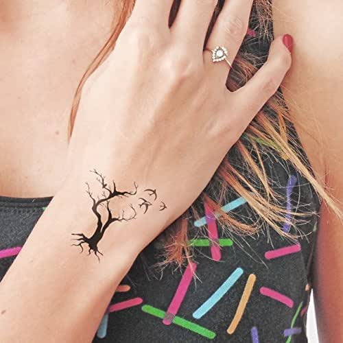 Tree birds temporary tattoo set of 2 for Fake tattoos amazon