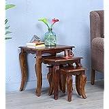 RjKart Solid Sheesham Wood Nesting Table For Living Room | Set Of 3 Stools | Honey Teak Finishes
