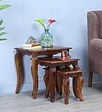 #6: DriftingWood Solid Sheesham Wood Nesting Table For Living Room | Set Of 3 Stools | Honey Teak Finish