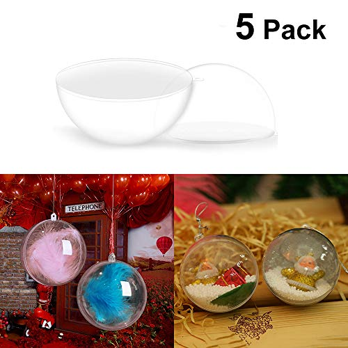 Klar Transparent Ball Weihnachtsbaum Ornamente DIY Kunststoff Fillable Ball Kugeln 6 cm ()