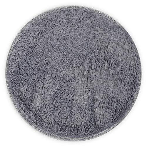 YWJHY Plüsch runder Teppich Wärme Verdickung Haustier Mat Kennel,Grau,M