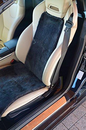 taubenblau 36cm x 138cm Autositzauflage Sitzbezug Autofell echtes Lammfell
