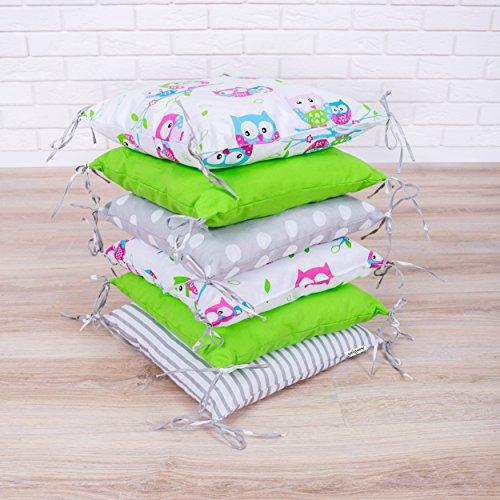 Amilian® Baby Nestchen Bettumrandung 210 cm Design10 Bettnestchen Kantenschutz Kopfschutz für Babybett Bettausstattung