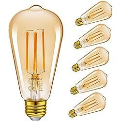 emotio nLite E14LED Vintage lámpara, LED filamento Bombillas incandescentes, 4W (40W equivalent), Ámbar amarilla, 2200K, E14, pelota de golf P45/g45,6unidades) [Clase energética A +], vidrio, St64lf 6.2w, E27, 6.00W, 230.00V