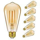Emotionlite LED Edison Lampe,Dimmbare LED Filament Glühlampen,6W(60W Equivalent),Vintage Style ST64 Birne,E27 Medium-Basis,Bernstein-Glühen,2200K, 6 Stück [Energieklasse A+]