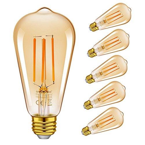 Emotionlite LED Edison Lampe,Dimmbare LED Filament Glühlampen,6W(60W Equivalent),Vintage Style ST64 Birne,E27 Medium-Basis,Bernstein-Glühen,2200K, 6 Stück