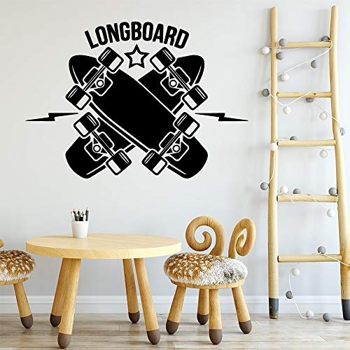 yaonuli Skateboard Longboard Wandaufkleber abnehmbar Kinderzimmer Deko Wandtattoo 45x63cm