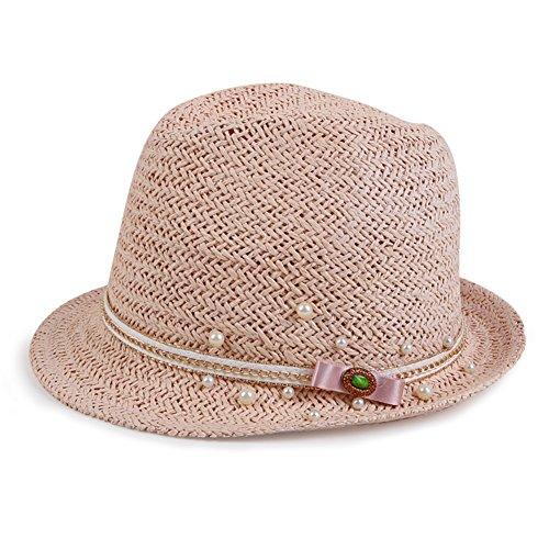 Chapeau haut de forme femelle/ chapeau Angleterre curling/perle coréenne du shopping visière/ Préparation manuelle chapeau de jazz/ Flat capeline plage D