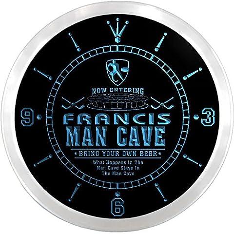 ncqe1385-b FRANCIS Ice Hockey Mave Cave Den Beer Bar LED Neon Sign Wall Clock