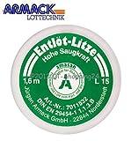 Amasan Entlötlitze Spulen L15 (grün= fein 1,5mm breit) mit hoher Saugfähigkeit aus Kupfer 1,60 Meter Spule