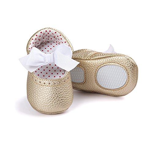 Confortevole Scarpine Neonata per Bimba Morbido e Non Scivoloso Scarpine con Cravatta a Farfalla per le Neonate di 0-18 Mesi (Rosa, S) Oro