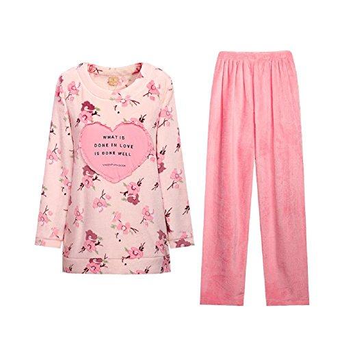 GJX Pigiama donna Coral fleece pigiama dolce floreale imbottito calda