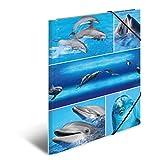 Herma 19213 Sammelmappe DIN A4 Karton, Motiv Delfine, Serie Tiere, Eckspanner, 1 Zeichenmappe, auch für Kinder