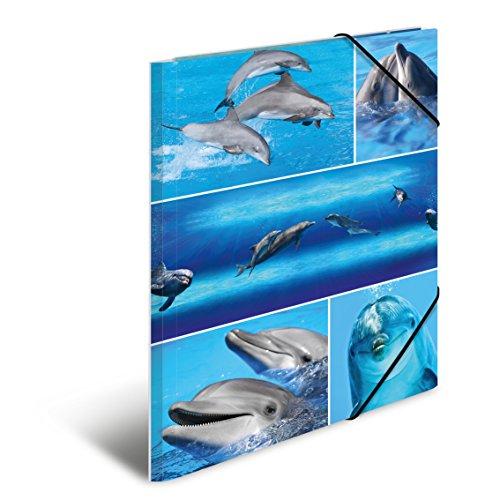 Herma 19213 Sammelmappe DIN A4 Karton, Serie Tiere, Motiv Delfine mit Gummi-Eckspanner, 1 Stück