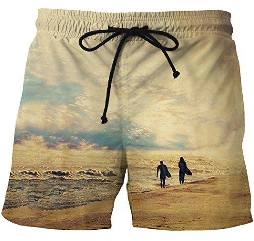 XueXian(TM) Homme Pantalon Plage Courte Casual Confortable avoir Dessin pour Eté en Polyester Couleur4