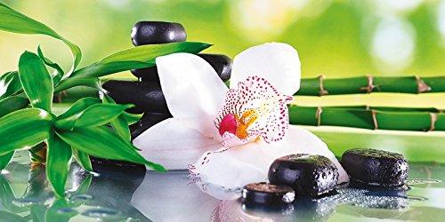Artland Qualitätsbilder I Wandtattoo Wandsticker Wandaufkleber AfricaStudio Spa Steine, Bambus Zweige und weiße Orchidee auf dem Tisch auf natürlichem Hintergrund Wellness Zen Pflanze Foto Grün C0ZE - Zen-bad-tisch