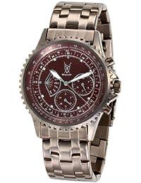 Reloj de Hombre con Pulsera Marrón de Acero Inoxidable, con Acentos de Diamante y Multi-función Día-Fecha de Konigswerk SQ201464G