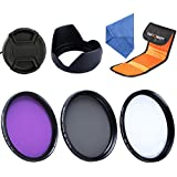 K&F Concept 58mm UV CPL FLD Lens Accessory Filter Kit UV Protector Circular Polarizing Filter for Canon 600D EOS M M2 700D 100D 1100D 1200D 650D DSLR Cameras + Microfiber Lens Cleaning Cloth + Lens Hood + Center Pinch Lens Cap