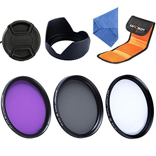 K&F Concept® Filterset 55mm Filter Kit UV Filterset UV Filter 55mm Schutzfilter 55mm CPL Filter Polfilter 55mm FLD Filter 5er Filter Set für Sony A37 A55 A57 A65 A77 A100 DSLR Kamera mit Gegenlichtblende 55mm Objektivdeckel Reinigungstuch Filtertasche
