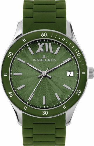 Jacques Lemans Ladies Rome Sports Wrist Watch 1-1623N with Dark Green Silicone Strap