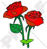 Rote Rosen Blumen English Rose 100mm (10,2cm) Vinyl Bumper Aufkleber, Aufkleber