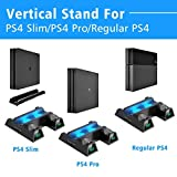 Tobo PS4/ PS4 Slim/ PS4 Pro Cooler,Multi Functional Vertical Cooling Stand, PS4 Controller Charger,Charging Dock Station with 12PCS Games Storage